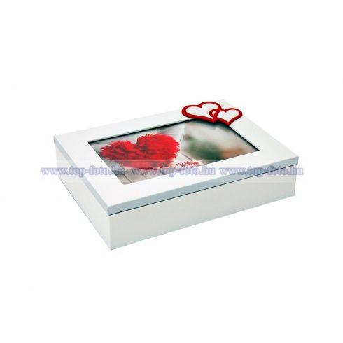 Fa fehér ékszerdoboz szív mintával 18X13 cm