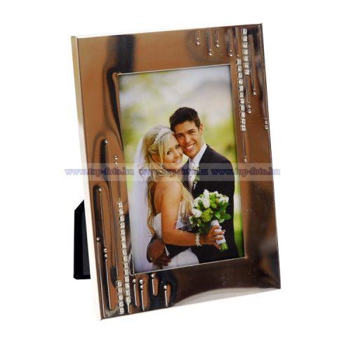 Esküvői krómozott képkeret 10x15 cm