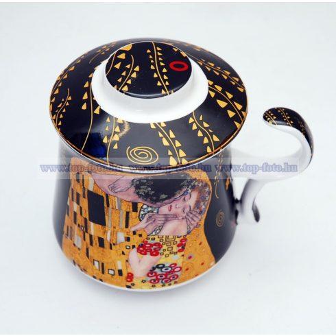 Gustav Klimt porcelán bögre szűrővel, tetővel díszdobozban
