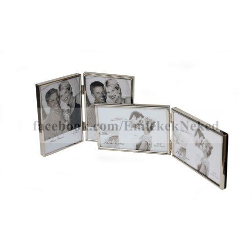 Krómozott fém dupla képkeret 10x15  cm